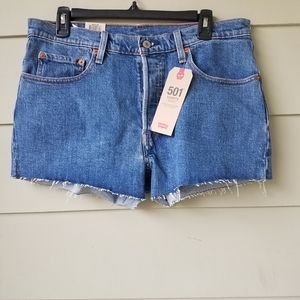 LEVI'S WOMENS Shorts Mid Rise Fray hem BUTTON fly